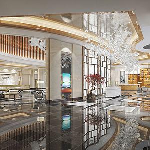現代風格售樓處前臺休息區3d模型