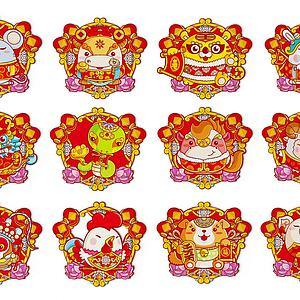 新中式十二生肖年畫剪紙3d模型