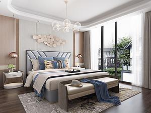 現代風格的臥室模型3d模型