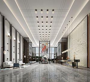 新中式酒店大堂模型3d模型