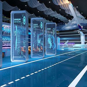 現代科技航空展廳展館3d模型