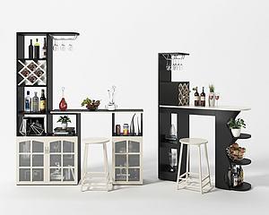 現代簡約隔斷酒柜模型3d模型