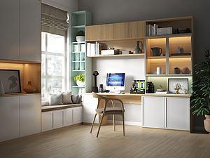 北歐現代書房模型3d模型