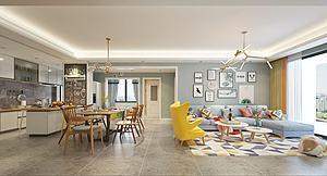 北欧风格的客厅模型3d模型