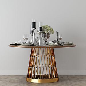 家具飾品組合茶幾3d模型
