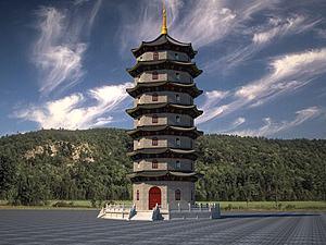寺廟塔模型3d模型