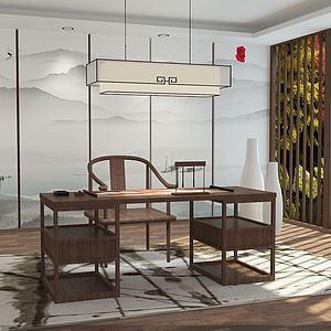 中式書房3d模型