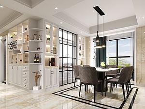 现代风格客厅餐厅模型3d模型