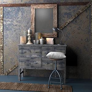 家具飾品組合玄關柜3d模型