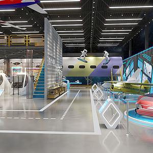 工業風飛機航天展廳展館3d模型