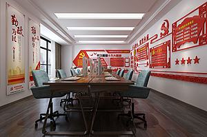 现代党建办公室模型3d模型