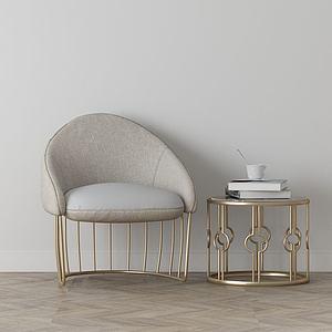 家具飾品組合休閑椅3d模型