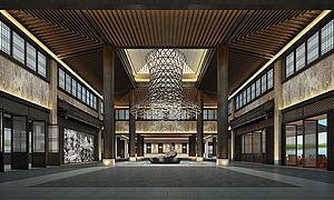 中式酒店大堂模型3d模型