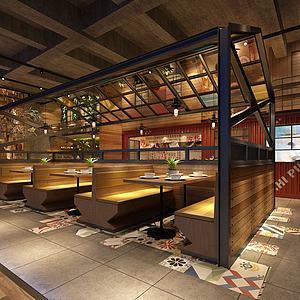 工業風餐飲店3d模型