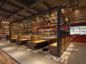 工业风餐饮店模型3d模型