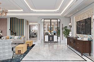 简美式风格客厅模型3d模型