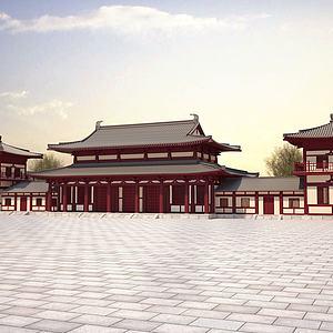 唐式建筑3d模型