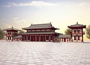 唐式建筑模型3d模型