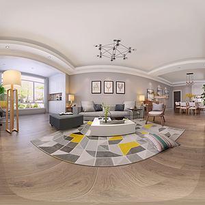 現代簡約風格客廳餐廳3d模型