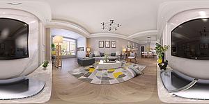 现代简约风格客厅餐厅模型3d模型