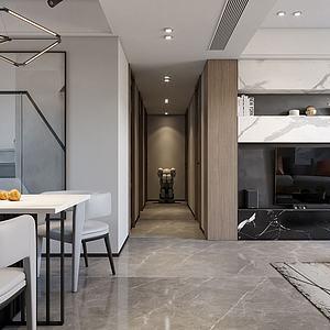 現代風格客廳餐廳3d模型