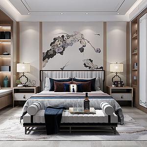 中式風格的臥室3d模型