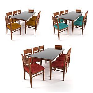 現代多色桌椅組合會議桌椅模型3d模型