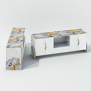 现代大理石电视桌电视柜模型3d模型