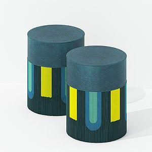 現代布藝彩色凳模型3d模型