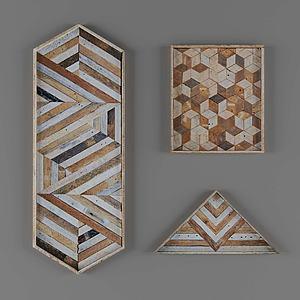 現代彩色木裝飾畫掛畫模型3d模型