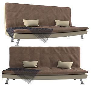 現代布藝無扶手沙發沙發床模型3d模型