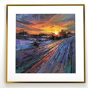 現代掛畫夕陽云彩裝飾畫模型3d模型
