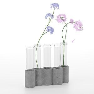 現代玻璃插花桌面擺件模型3d模型