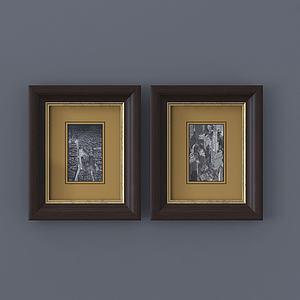 現代相框裝飾畫室內掛畫模型3d模型