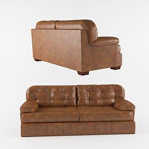 美式休閑真皮雙人沙發3d模型