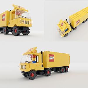 積木汽車3d模型