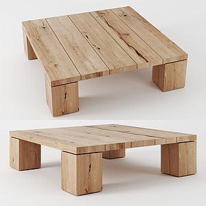 現代實木矮桌3d模型