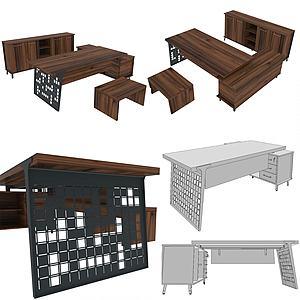 现代办公室桌椅模型3d模型
