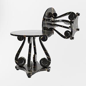 現代卷尾巴休閑圓桌模型3d模型