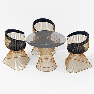 現代休閑桌椅鐵藝模型3d模型