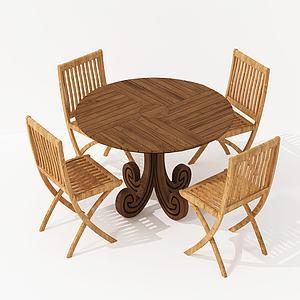 現代實木休閑桌椅模型3d模型