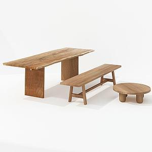 現代實木桌圓桌方桌組合模型3d模型