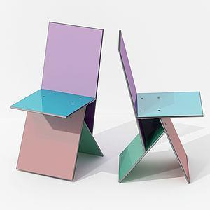 现代彩色休闲靠椅模型3d模型