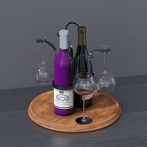 現代桌面擺件紅酒酒杯模型3d模型
