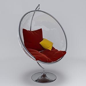 北歐休閑紅色吊椅3d模型