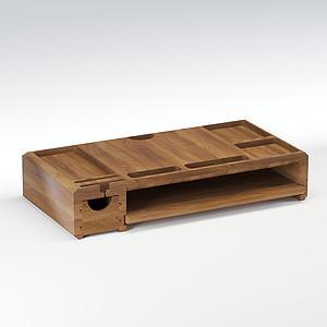 現代實木電腦桌模型3d模型