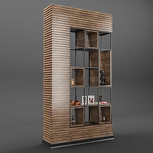 現代木質客廳展示柜模型3d模型