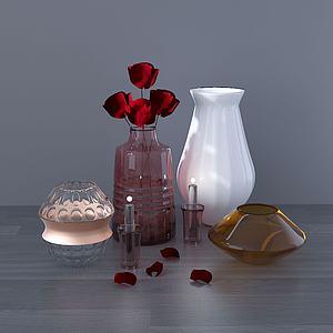 現代桌面擺件瓶子蠟燭花模型3d模型