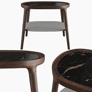 現代休閑橢圓木凳子模型3d模型