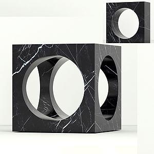 現代大理石邊柜鏤空邊柜模型3d模型